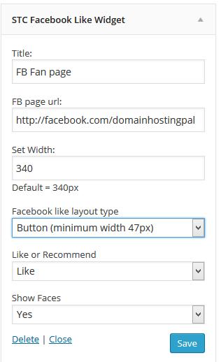 Wordpress facebook like widget
