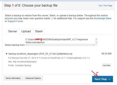 Restore wordpress site backupbuddy