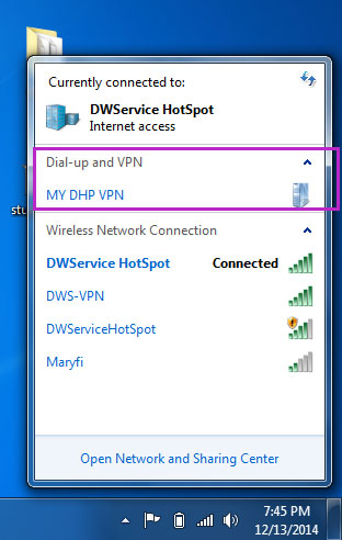 Connect windows 7 to pptp vpn